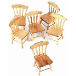 6 x Pine Wooden Chairs for 1:12 Scale Dolls House Kitchen