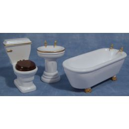 White Bathroom with Gold Fittings
