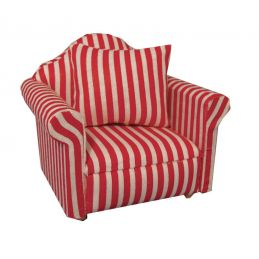 Red Striped Arm Chair