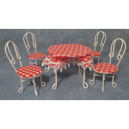 White Table and Four Chairs with Tablecloth