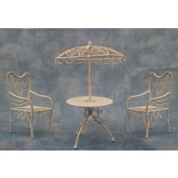 White Parasol Table and 2 Chairs