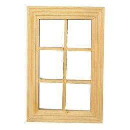 6 Pane Unpainted Wooden Window