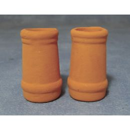 2 x Round Chimney Pots for 1:12 scale Dolls House