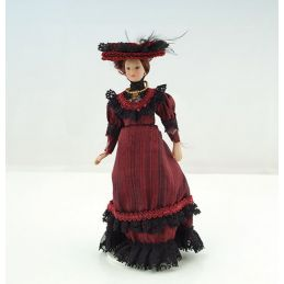 1/12th Scale Dolls House Porcelain Victorian Lady in Red Dress
