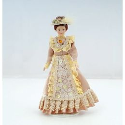 12th Scale Porcelain Victorian Lady in Beige Dress