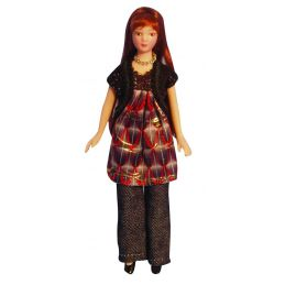 1/12th Scale Dolls House Porcelain Modern Woman In Smock Dress