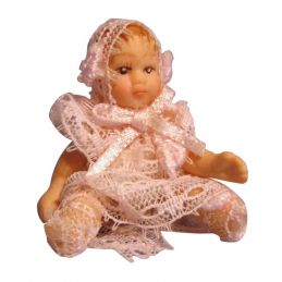 Tiny Baby Girl Doll in Pink Dress
