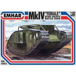 Emhar MkIV Female WWI Heavy Battle Tank 35th Scale Plastic Model Kit