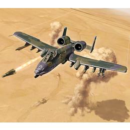 Italeri Fairchild A-10A C Thunderbolt II Gulf War 1:72 Scale Plastic Aircraft Model Kit - Starter Paint Pack (4 x 17ml Bottles)