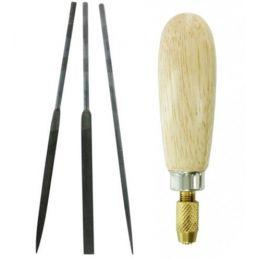 Hobbies 3 Piece Precision Needle File Set & Universal Needle File Handle