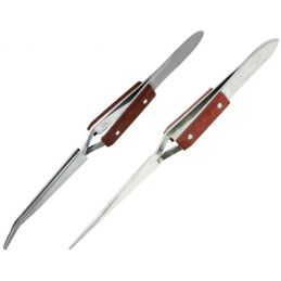 Hobbies Reverse Action Straight Tip and Curved Tip Tweezers with Fibre Grip