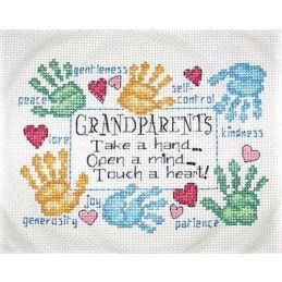 Cross Stitch - Grandparents Touch a Heart