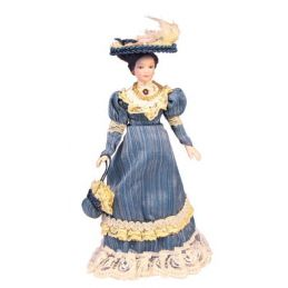 12th Scale Porcelain Victorian Lady in Blue Dress