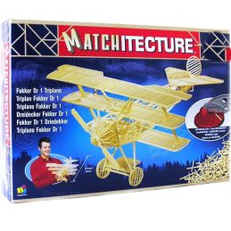 Matchitecture Fokker DR1 Triplane World War I fighter aircraft Matchstick Kit