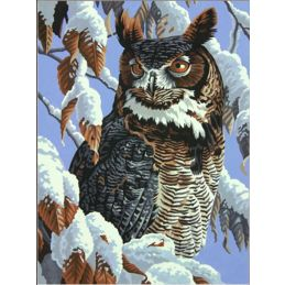 "Paintsworks Great Horned Owl Winter Watch Paint by Numbers 11"" x 14"""