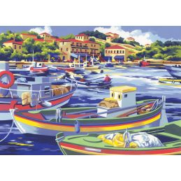 Painting By Numbers Mediterranean Fishing Boats