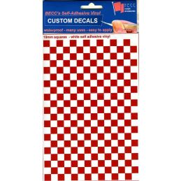 Vinyl Squares Chequer Pattern Red White
