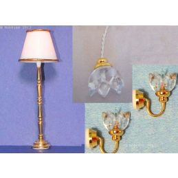 Dolls House 12v Clear Lily 4 Piece Lamp, Wall and Ceiling Light Set Miniature 1:12 Scale