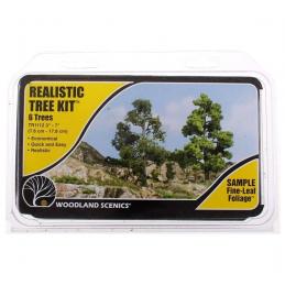 Medium Green Realistic Trees Kit Pack of 6