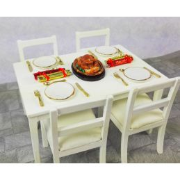 Christmas Dinner Table & Chairs Set 12th Scale for Dolls House