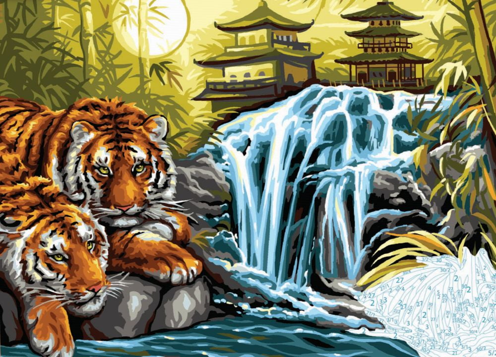 Painting By Numbers Asian Tigers With Pagoda And Waterfall