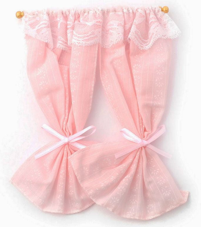 pink curtains for dolls house