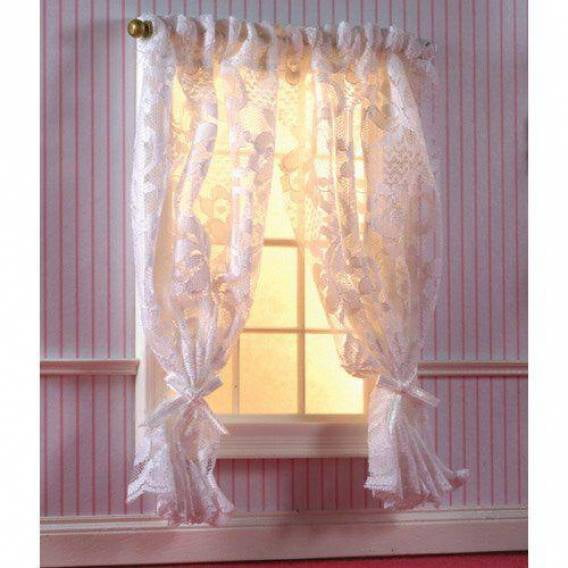 Off White Lace Curtains On Rail 1 12 Scale For Dolls House