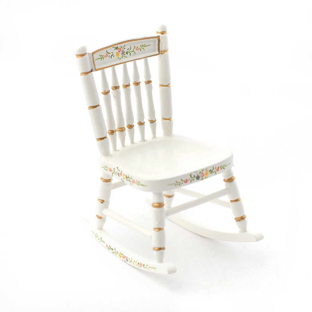Hand painted Nursery Rocking Chair White 1 12 Scale for