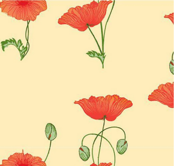 Red Poppy On Cream Wallpaper 1:12 Scale For Dolls House