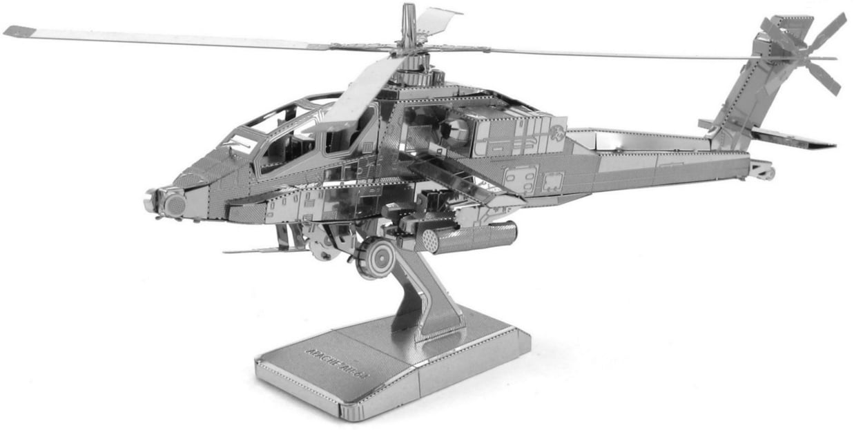 Metal Earth Ah 64 Apache Helicopter 3d Laser Cut Model