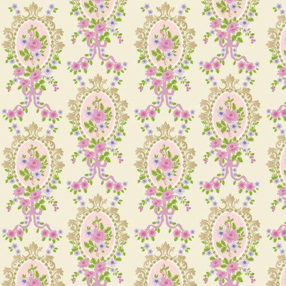 Cream Victorian Cameo Wallpaper 430 X 600mm For Dolls
