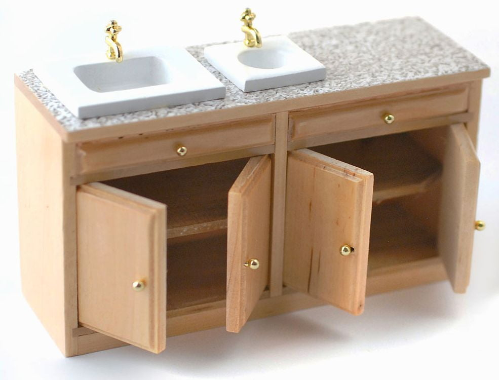 Modern Pine Kitchen Sink Unit With Worktop 12th Scale For Dolls House