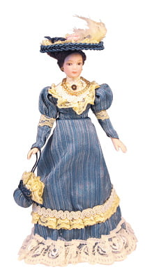 12th Scale Dolls House Porcelain Victorian Lady In Blue