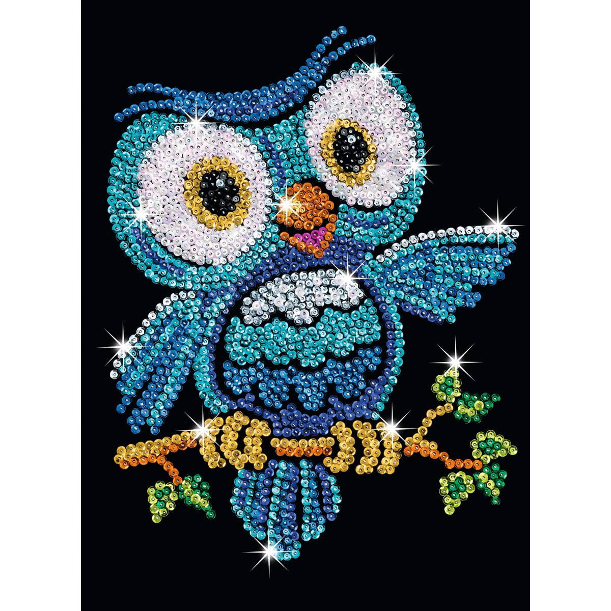 Sequin art red ozzy the owl sparkling craft picture kit for Arts and crafts style prints
