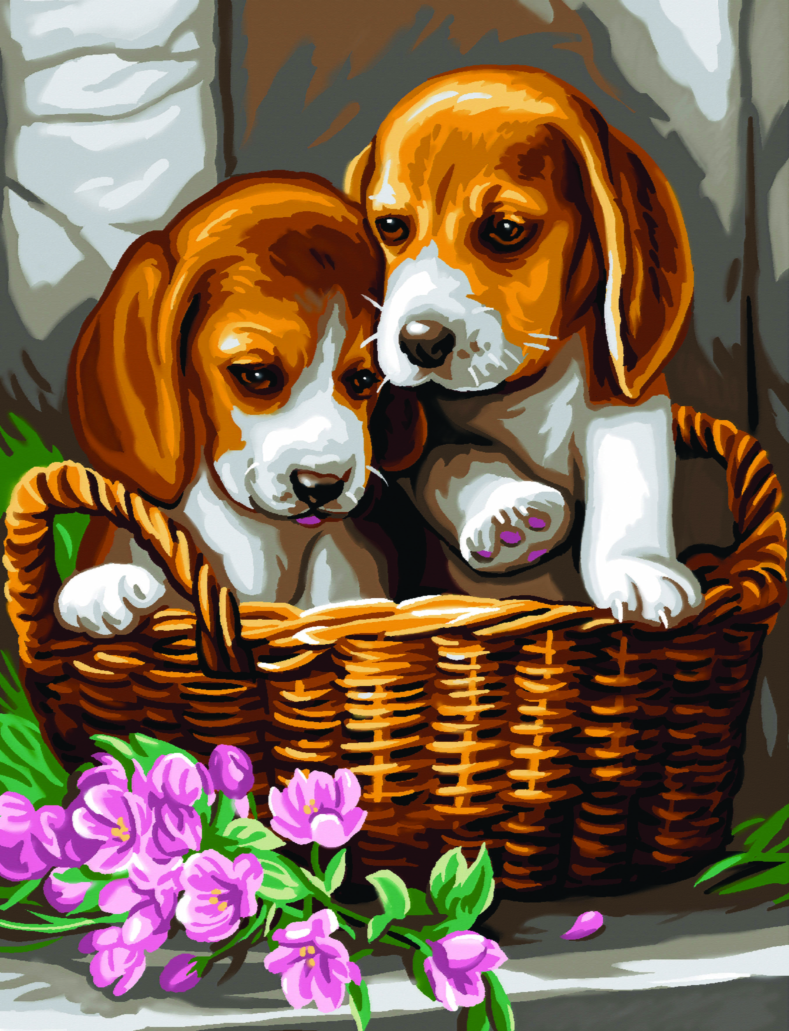 Junior Painting By Numbers Puppies In Basket Paint Set From Hobbies
