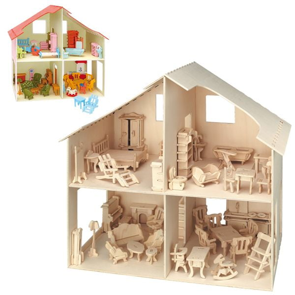 Wooden Dolls House Flat Pack Craft Kit 880   Hobbies
