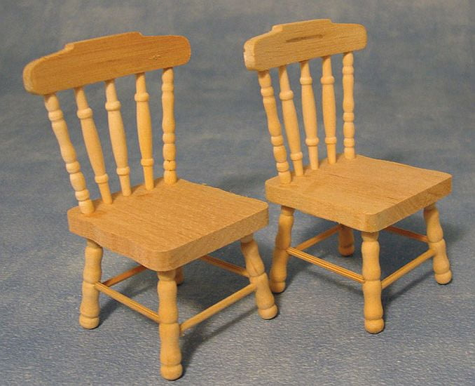 Pair Of Kitchen Chairs Barewood Furniture 1 12 Scale For Dolls House