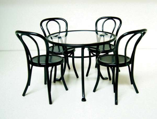 12th scale patio furniture set glass top table and 4 for Metal patio table and 4 chairs