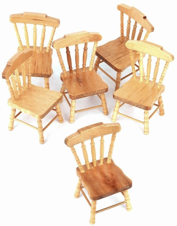 6 X Pine Wooden Chairs For 1 12 Scale Dolls House Kitchen