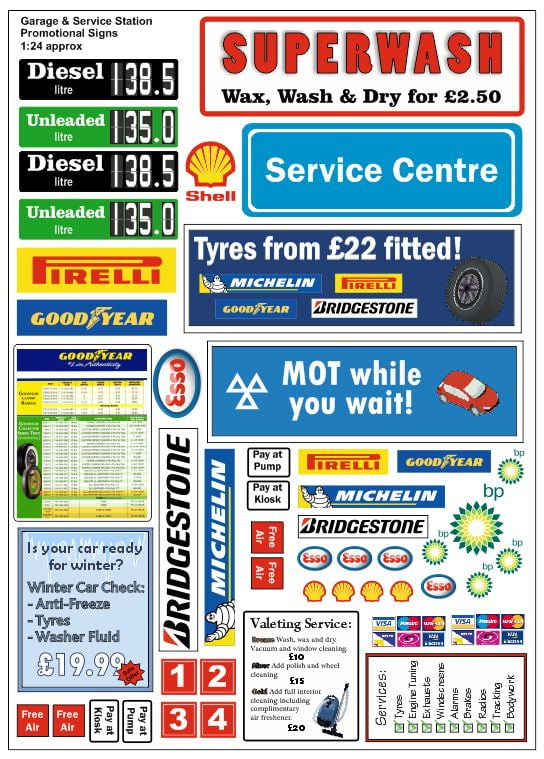 garage and service station promotional signs 1 24 1 43. Black Bedroom Furniture Sets. Home Design Ideas