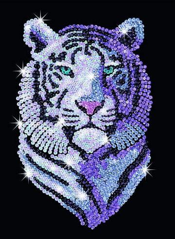 Sequin Art Snow Tiger Craft Kit By Ksg Hobbies