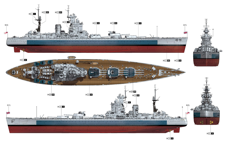 Trumpeter Hms Nelson 1944 Large Scale Kit Hobbies