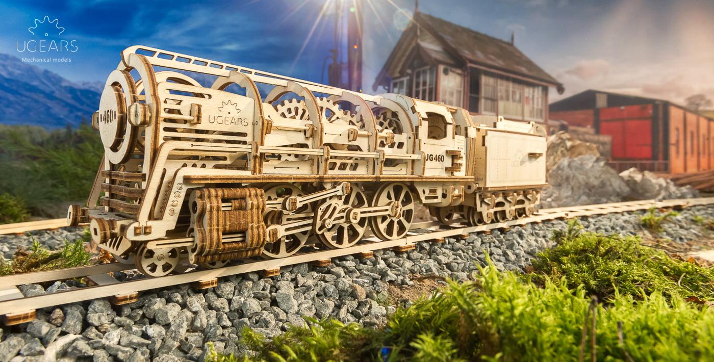 ugears steam locomotive wooden kit 70012