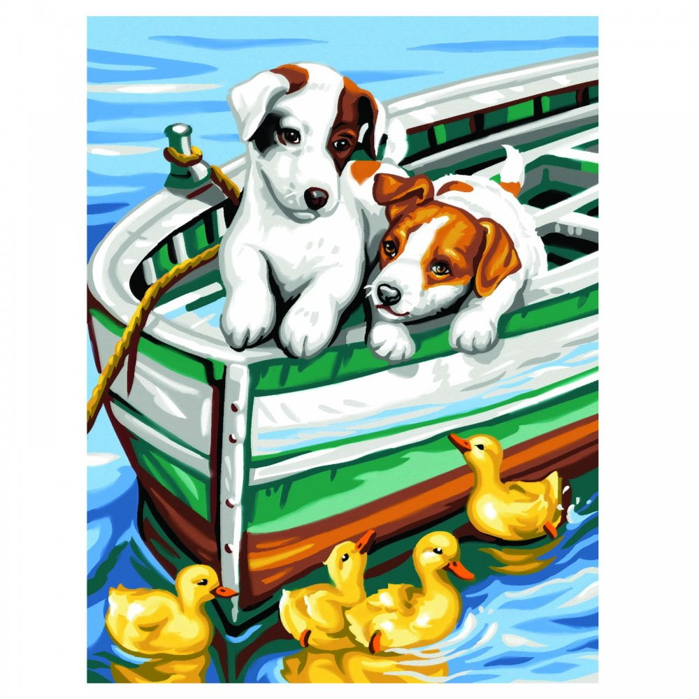 Junior Painting By Numbers Puppys And Ducks Paint Set 1332 Hobbies