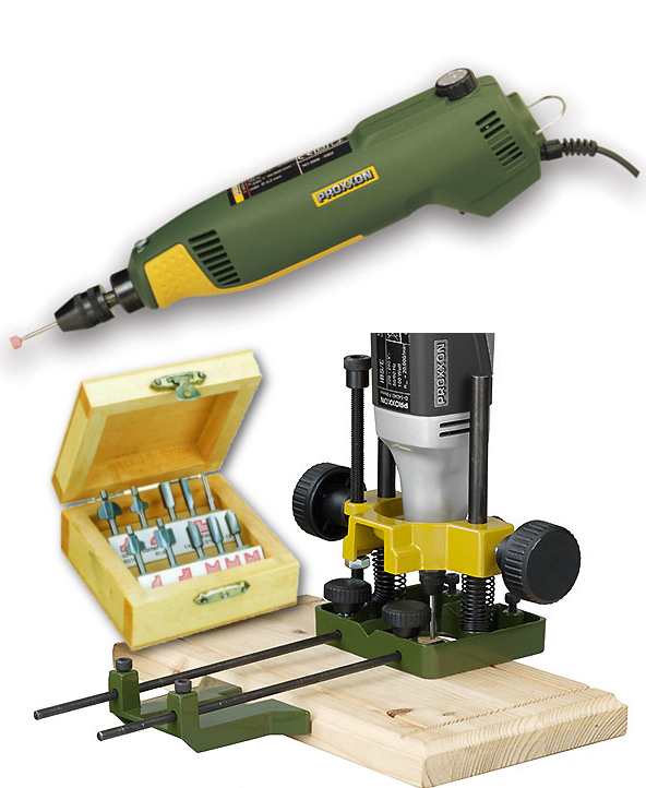 Proxxon Routing Deal - Drill Grinder, Router Base and 10 Piece Router Bit  Set
