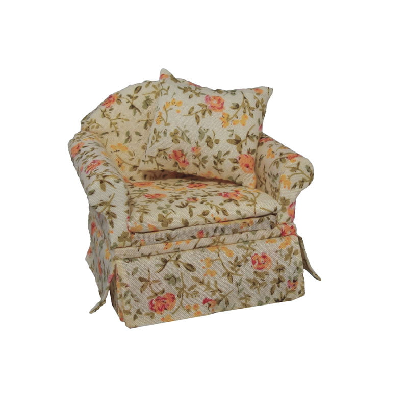 Floral Armchair 1 12 Scale For Dolls House Df1479 Hobbies