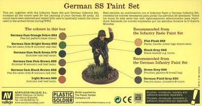 Vallejo Model Color Set - WWII Wargames - German SS Paint Set